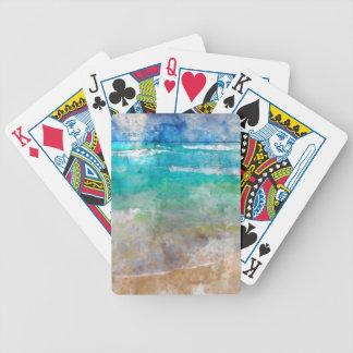 Praia bonita de Cancun - aguarela Baralhos De Pôquer