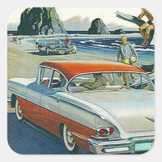 Praia branca vermelha do Dois-tom do carro vintage Adesivo Quadrado
