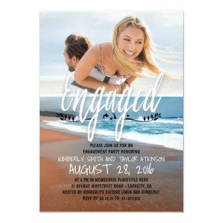 Praia contratada festa de noivado da foto convite 12.7 x 17.78cm