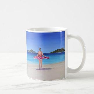 Praia da baía do banco de areia caneca de café
