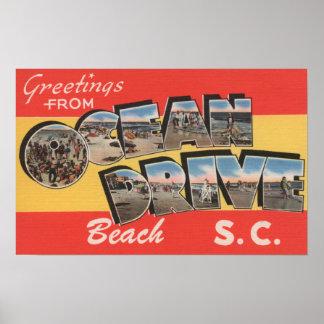 Praia da movimentação de South Carolina - oceano Poster