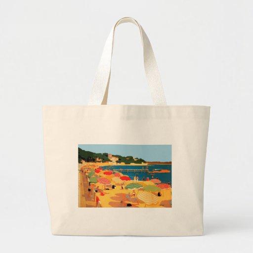 Praia de Riviera francês do vintage Bolsa Para Compra