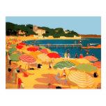 Praia de Riviera francês do vintage Cartao Postal