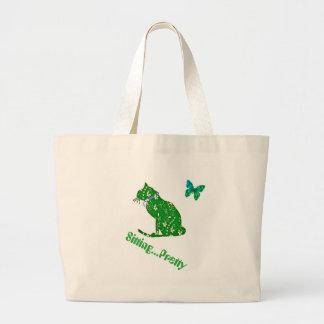 Praia do gato floral verde ou o bolsa enorme da