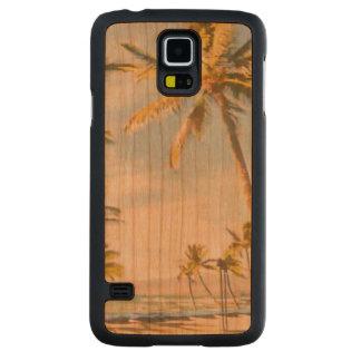 Praia do Hawaiian do vintage de PixDezines Case Slim De Cerejeira Para Galaxy S5