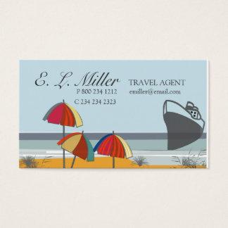Praia do verão das férias do agente de viagens cartão de visitas