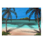 Praia e palmas cartoes