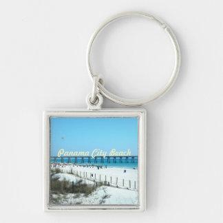 Praia Florida da Cidade do Panamá Chaveiro Quadrado Na Cor Prata