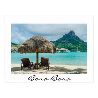 Praia no cartão do branco de Bora Bora