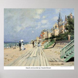 Praia no trouville por Claude Monet Pôster