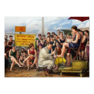 Praia - os dedos do pé trataram macia 1922 convite 12.7 x 17.78cm