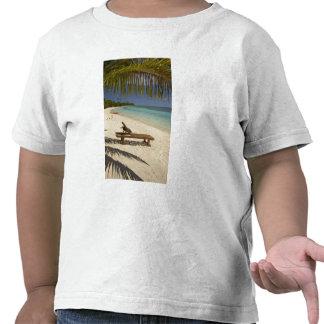 Praia, palmeiras & lounger camisetas
