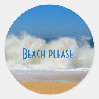 Praia por favor! Etiquetas da cena da praia