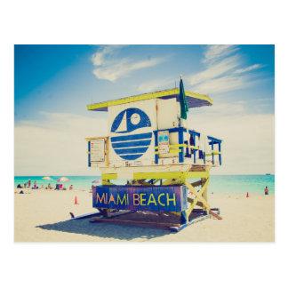 Praia sul da torre | do Lifeguard, Miami, Fl Cartão Postal