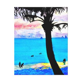 Praia tropical do paraíso no por do sol impressão de canvas esticadas