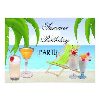 Praia tropical dos cocktail da festa de convite 12.7 x 17.78cm