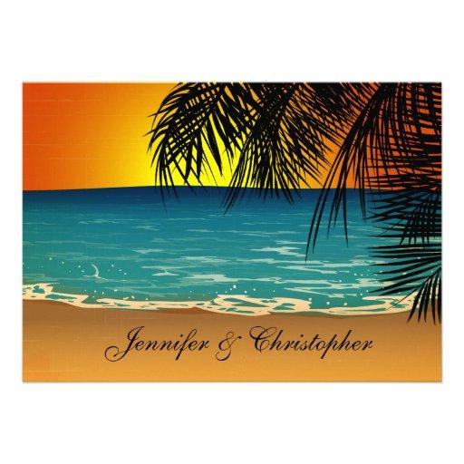 Praia tropical no casamento do por do sol convites personalizado