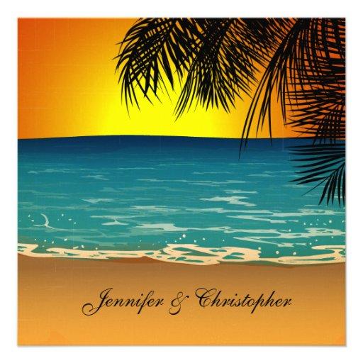 Praia tropical no casamento do por do sol convite