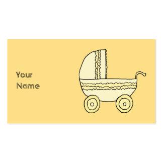 Pram. amarelo do bebê cartão de visita