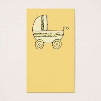 Pram. amarelo do bebê cartão de visitas