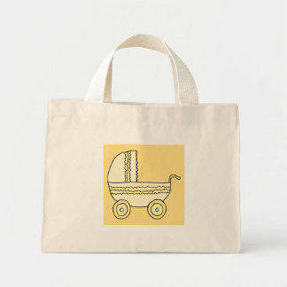 Pram. amarelo do bebê sacola tote mini