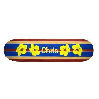 Prancha amarela da madeira da falsificação do shape de skate 21,6cm