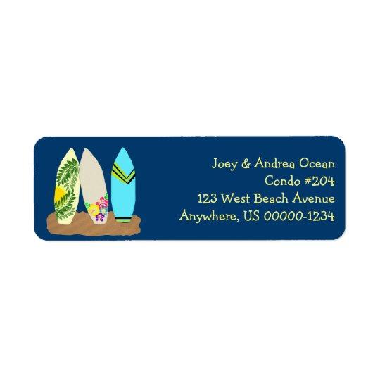 Prancha azuis escuro etiqueta endereço de retorno