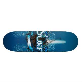 Prancha com elementos e wat florais decorativos shape de skate 19,7cm