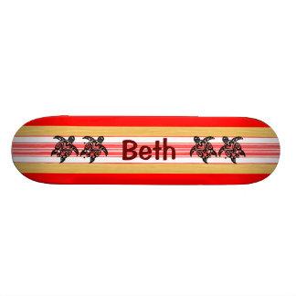 Prancha tribal do vermelho de Honu Shape De Skate 18,1cm