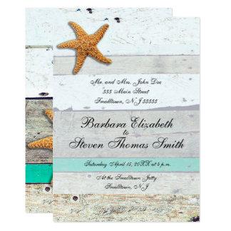 Pranchas Whitewashed convite do casamento de praia