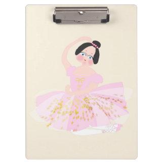 Prancheta cor-de-rosa da ilustração da bailarina