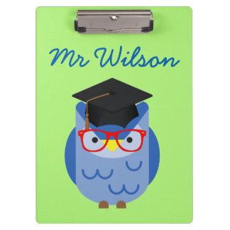 Prancheta Customisable do professor azul da coruja