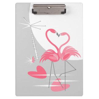 Prancheta da lua do amor do flamingo grande