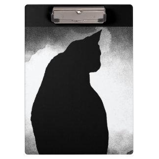 Prancheta da silhueta do gato preto