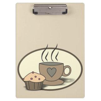 Prancheta do café e do muffin para amantes do café