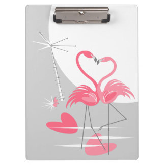 Prancheta do nome da lua do amor do flamingo