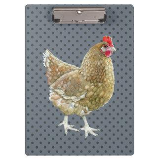 Prancheta ilustrada da galinha das bolinhas