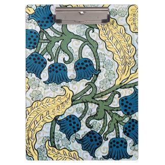 Pranchetas Azul que repete o teste padrão floral