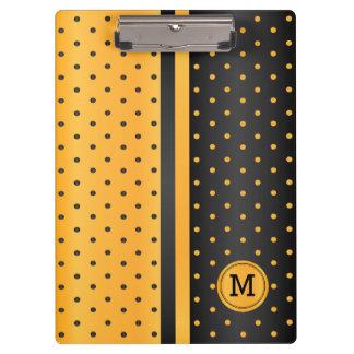 Pranchetas Bolinhas amarelas e pretas douradas - monograma