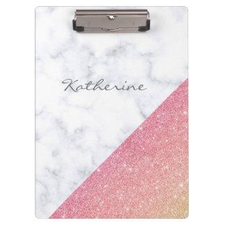 Pranchetas Brilho cor-de-rosa do ouro do mármore branco