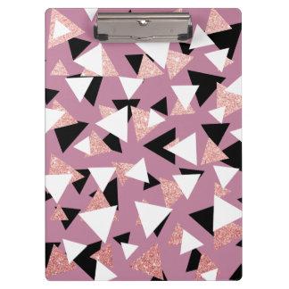 Pranchetas Brilho cor-de-rosa do ouro dos triângulos