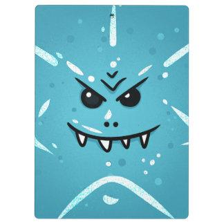 Pranchetas Cara azul engraçada com sorriso Sneaky