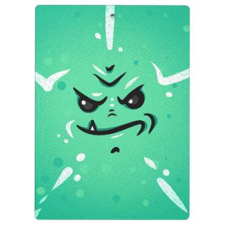 Pranchetas Cara verde engraçada do monstro com sorriso de