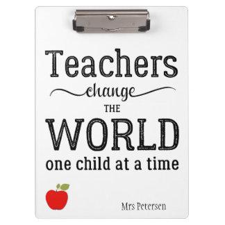 Pranchetas Citações inspiradas da maçã vermelha do professor
