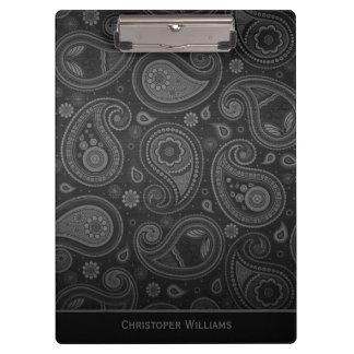 Pranchetas Clipbo personalizado paisley preto elegante