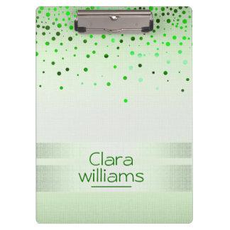 Pranchetas Confetes de linho da faísca do brilho verde da