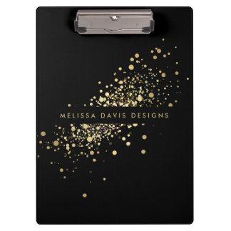 Pranchetas Confetes do ouro do falso em moderno preto