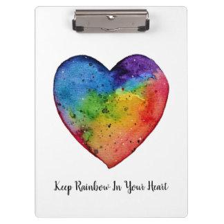 Pranchetas Coração bonito do arco-íris da aguarela