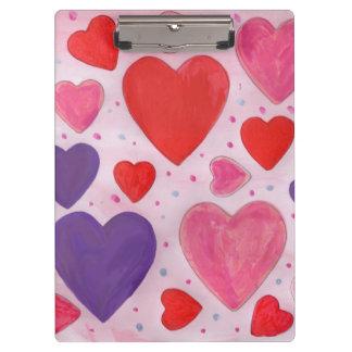 Pranchetas Corações do dia dos namorados no rosa, no roxo &