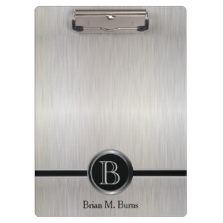 Pranchetas Design executivo do monograma - aço branco da